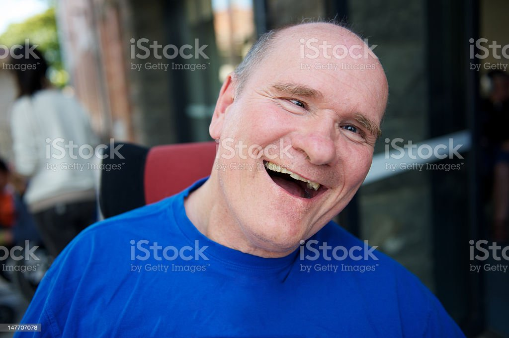 Man with a disability smiling stock photo