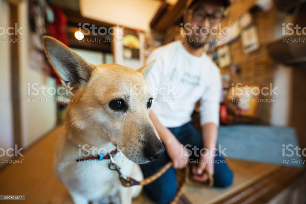 Man with a dog ready to greet guests at his home