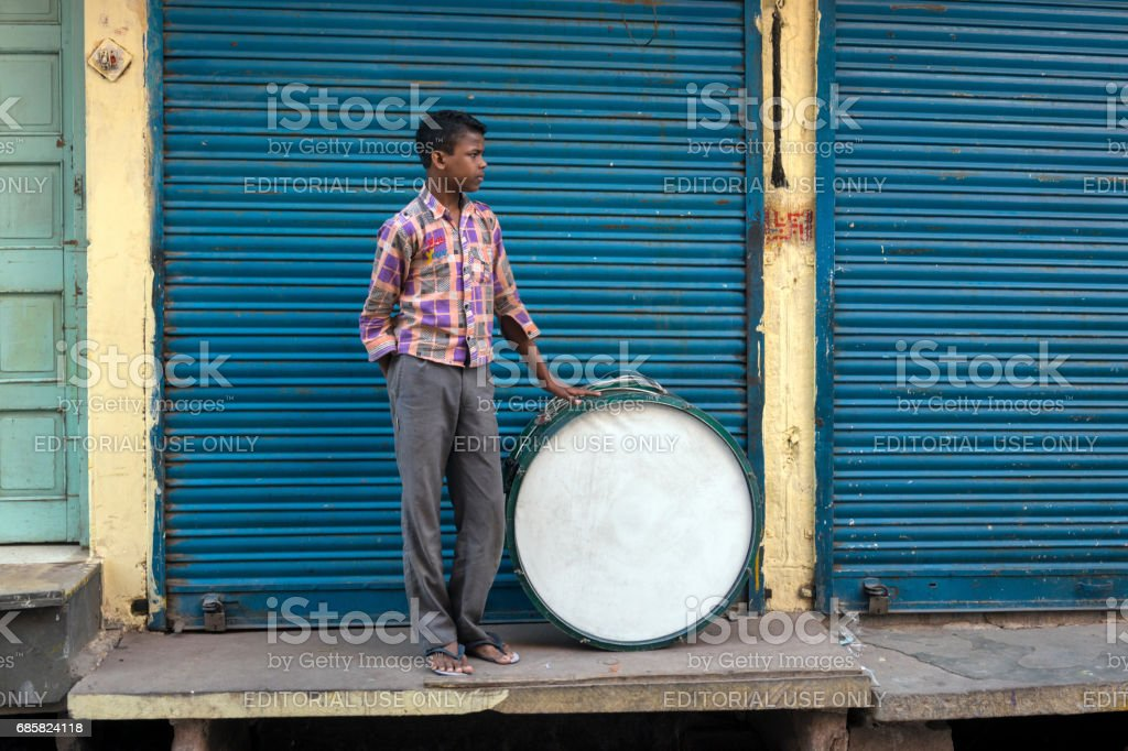 Man with a drum stock photo
