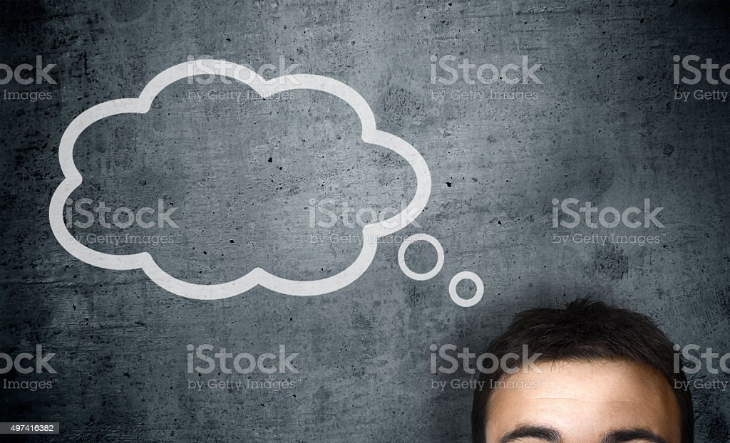 man with a empty speech bubble over his head stock photo