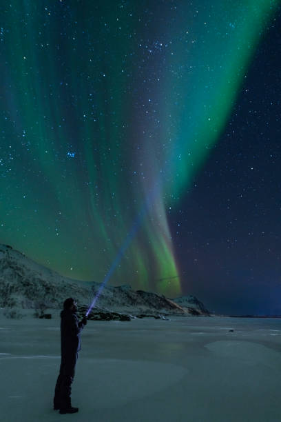 Man with a flashlight looking at Northern Lights, Aurora Borealis over the Lofoten stock photo