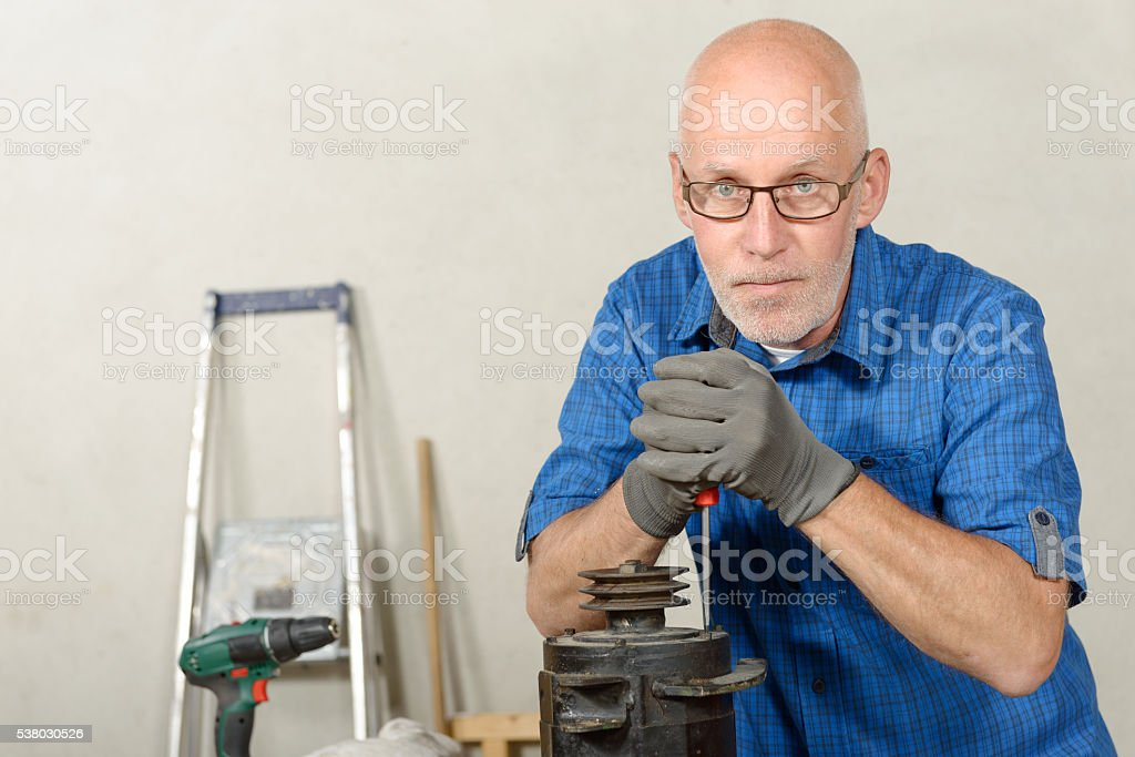 man with a generator for the car stock photo
