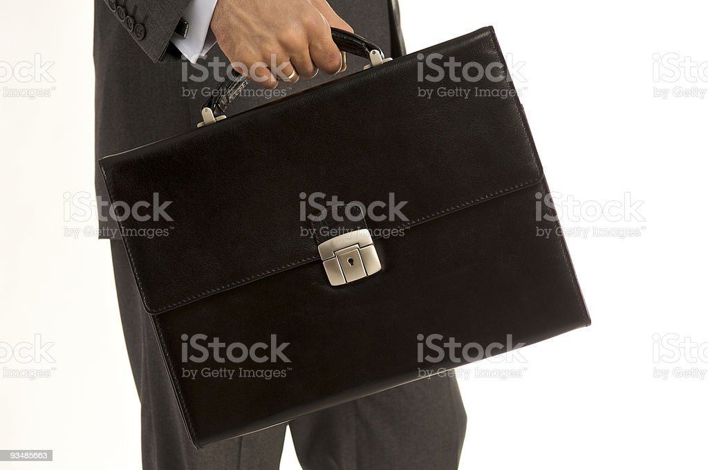 Man with a leather briefcase royalty-free stock photo