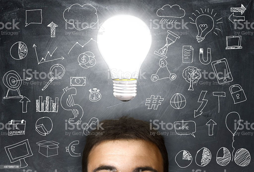 man with a light bulb over his head stock photo