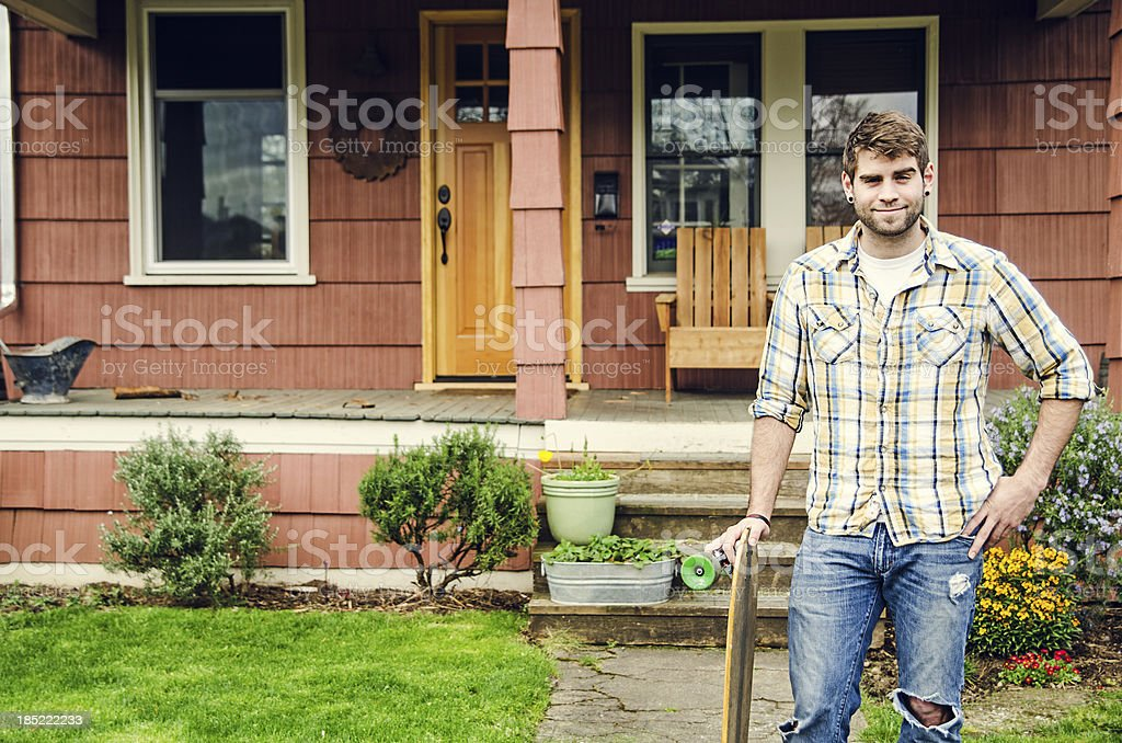 Man with a longboard royalty-free stock photo