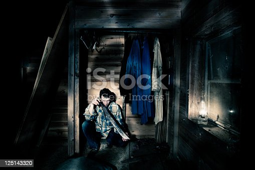 istock Man with a machete hiding in closet 125143320