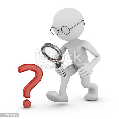 istock Man with a magnifying glass. 612486088