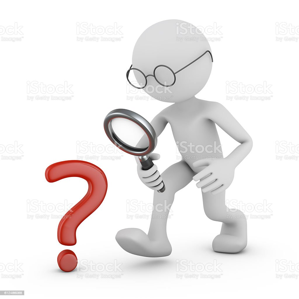 Man with a magnifying glass. stock photo