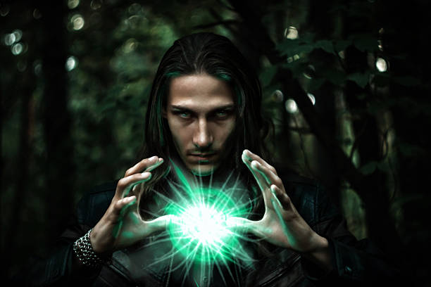 man with a mysterious glowing orb. – Foto