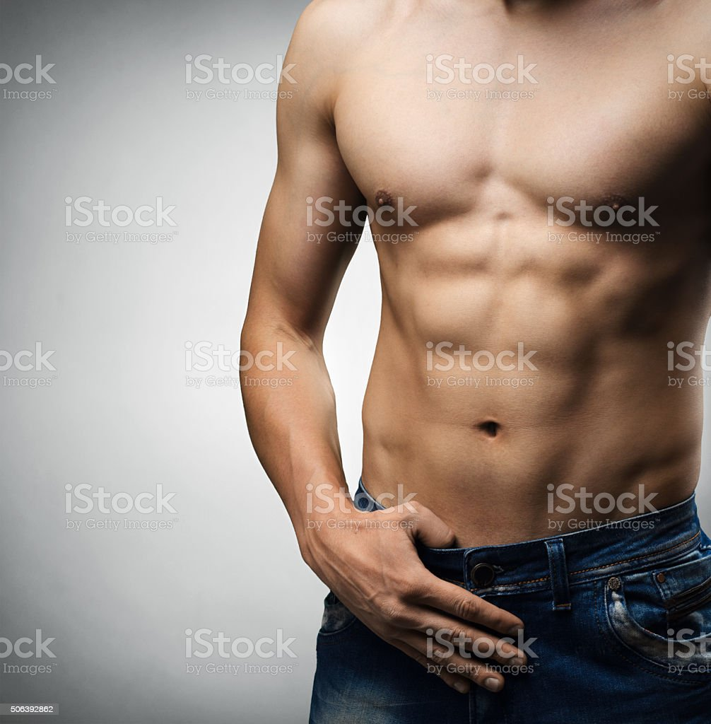 man with a naked torso stock photo
