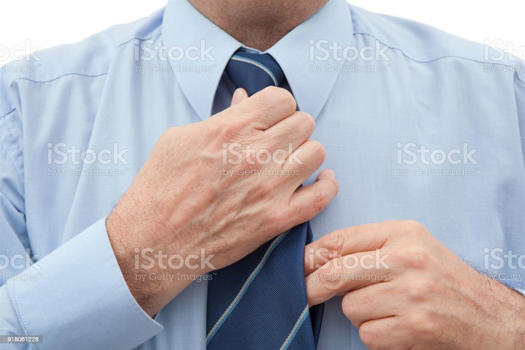Man With a Necktie on White stock photo