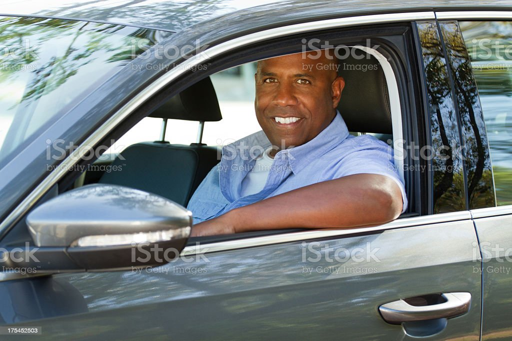 Man with a new car stock photo