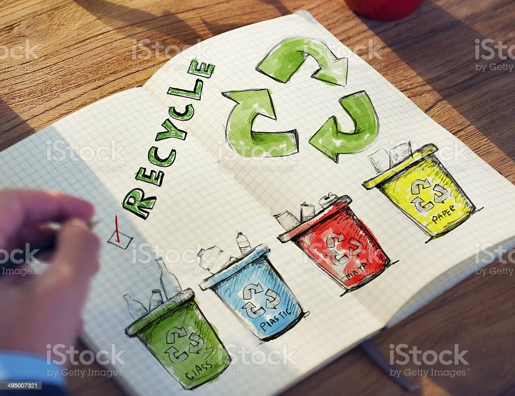 Man with a Notepad with Recycling Concept royalty-free stock photo