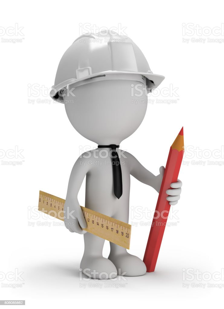 3D man with a pencil stock photo