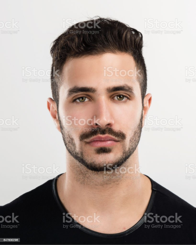 Man with a serious expression stock photo
