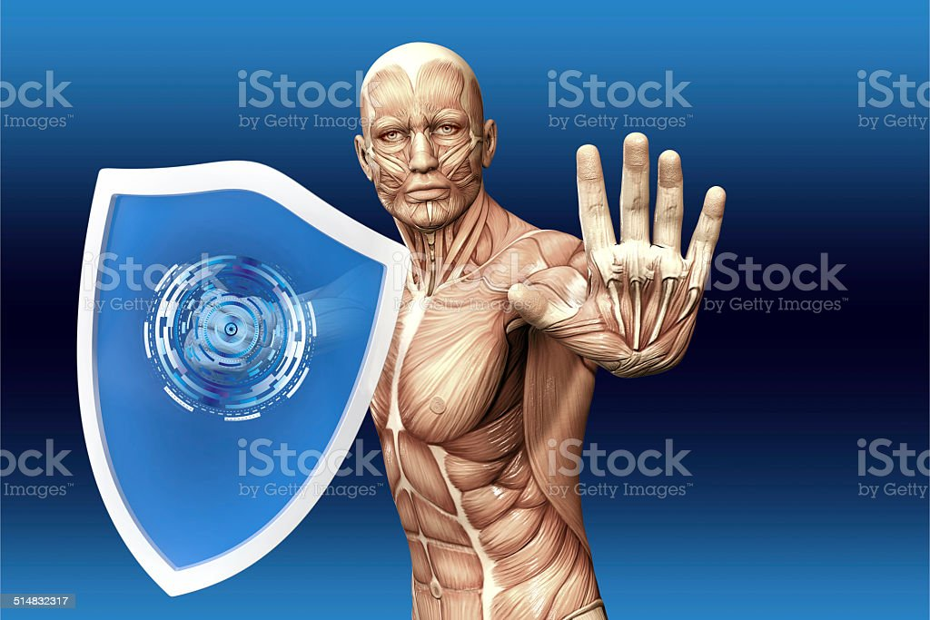 Man with a shield stock photo