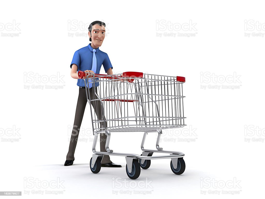 man with a shopping cart stock photo