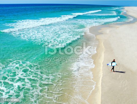 Lone surfer walking on deserted beach next to beautiful ocean