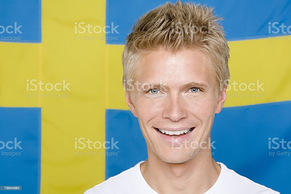 Man with a swedish flag royalty-free stock photo
