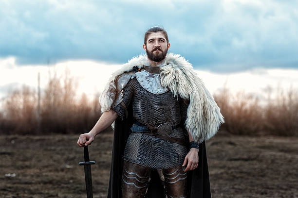 man with a sword defenseman. - warrior person stock pictures, royalty-free photos & images
