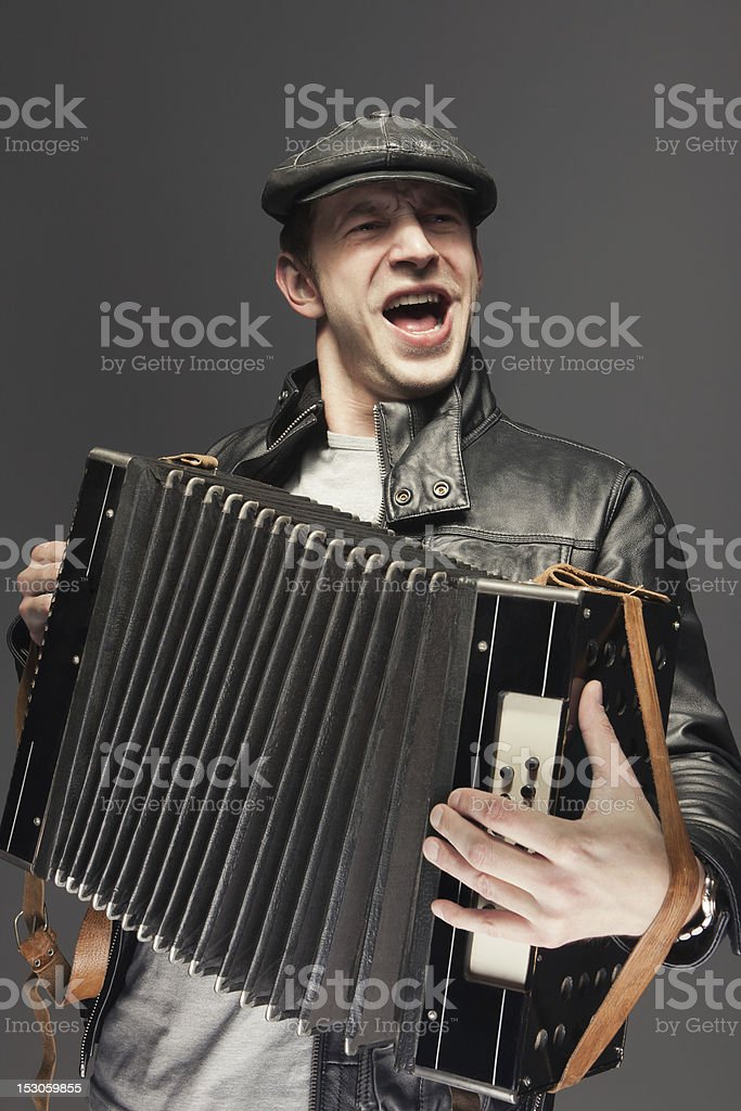 Man with accordion stock photo