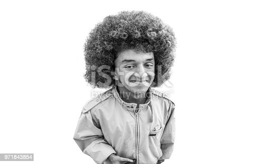 portrait of man with afro hair style