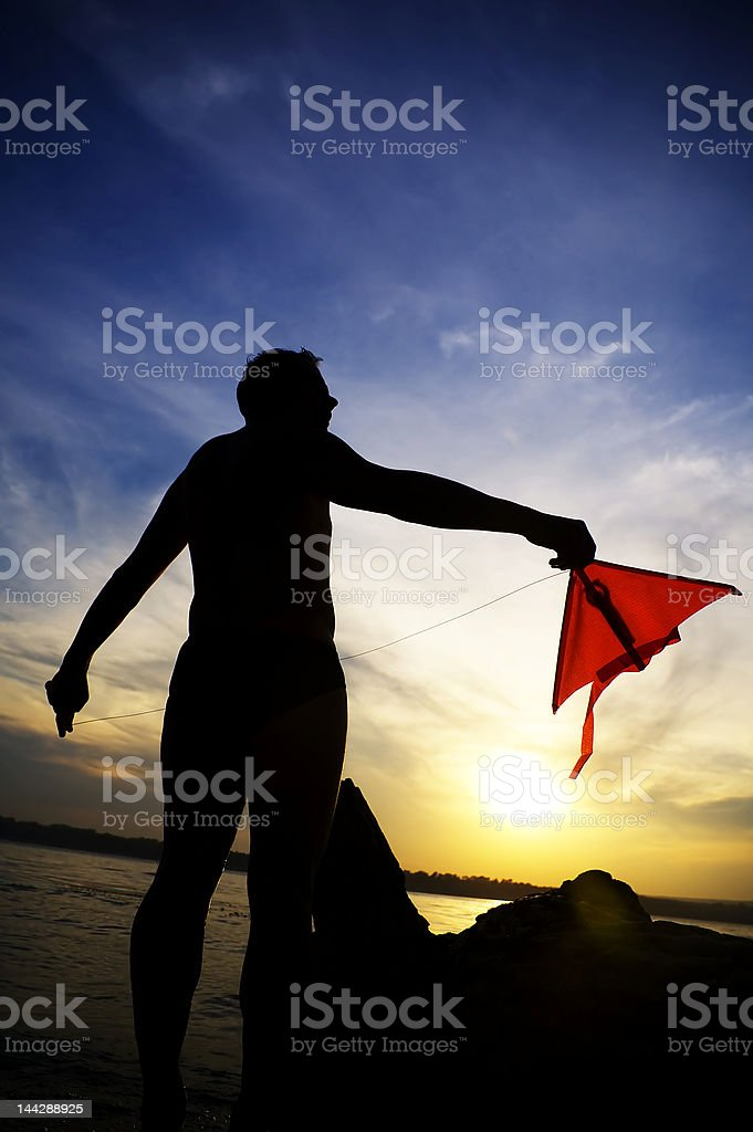 Man with air snake royalty-free stock photo