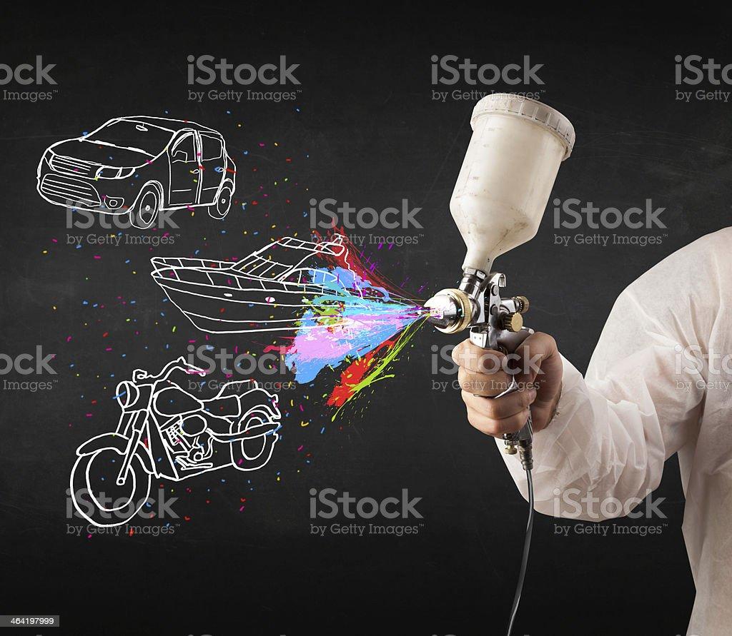 Mann mit airbrush-spray paint – Foto