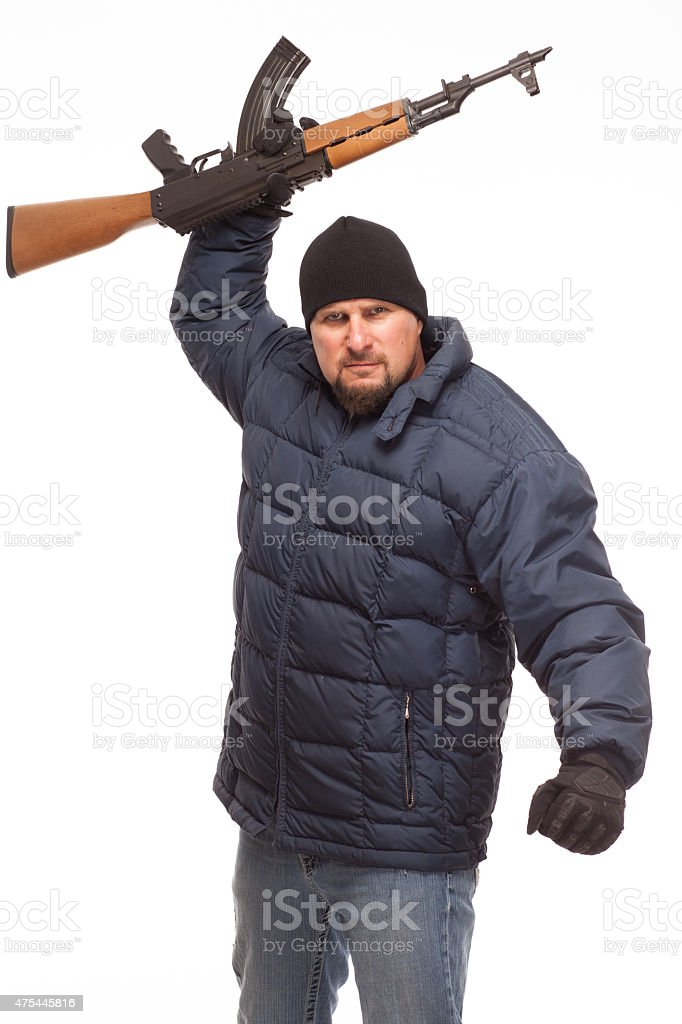 Man With AK 47 Ready For War Royalty Free Stock Photo