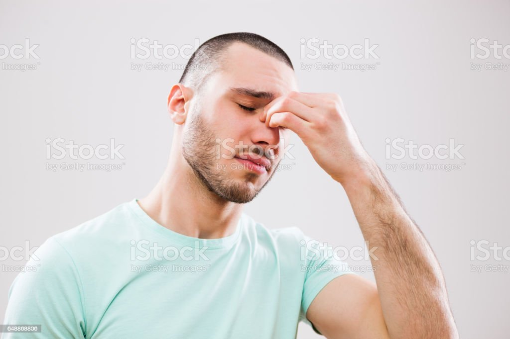 Man with allergy stock photo
