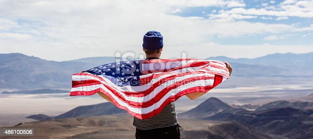 istock Man with American flag 486100506