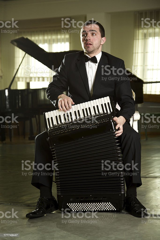 man with an accordion stock photo