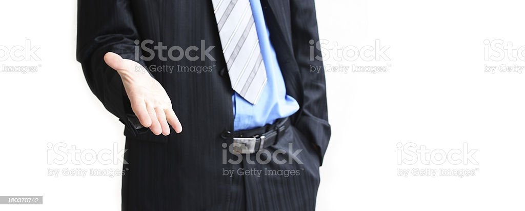 man with an open hand royalty-free stock photo