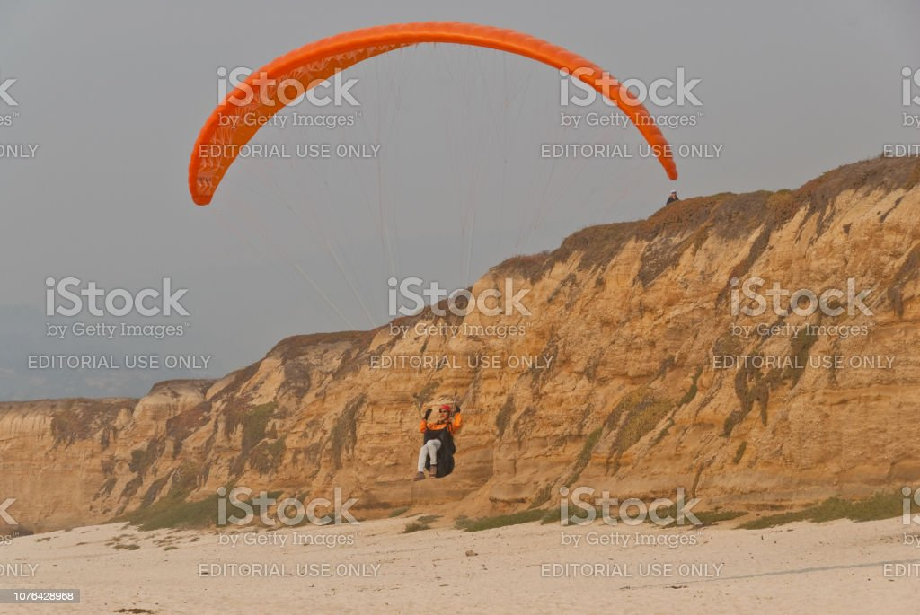 Paragliding Off a Bluff stock photo
