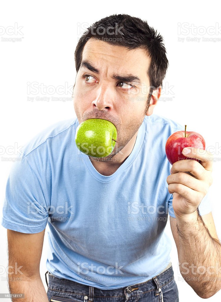 Man with apples royalty-free stock photo