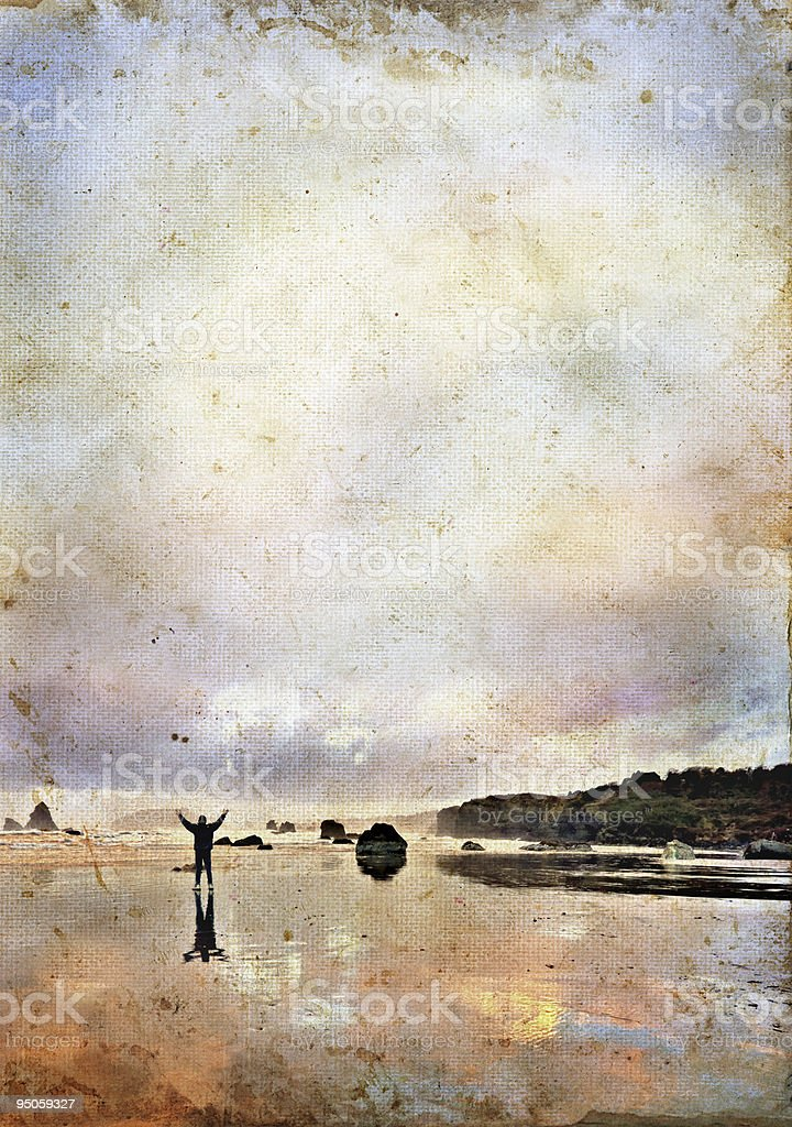 Man with Arms up to Sky on a Grunge Background royalty-free stock photo