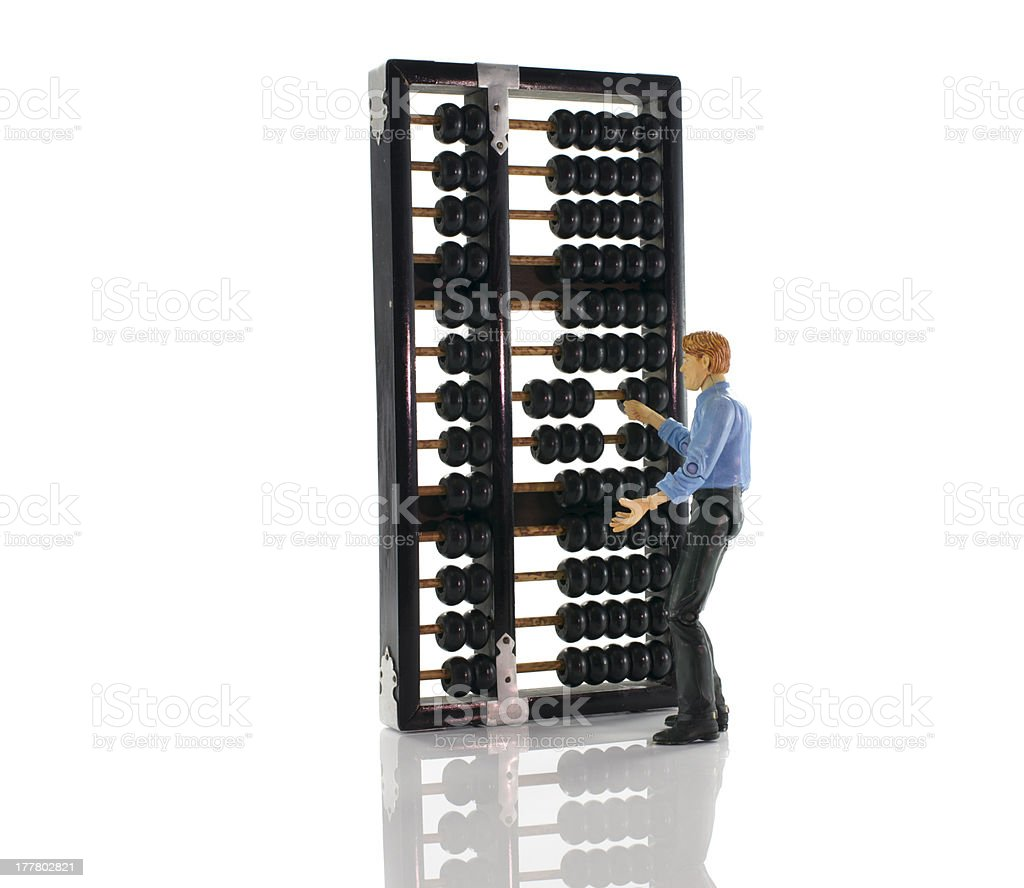 man with asian abacus royalty-free stock photo