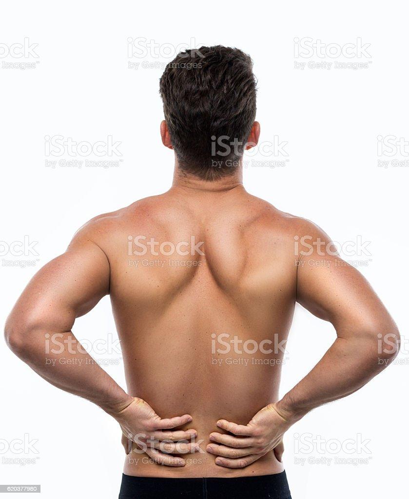Homem com dor nas costas foto de stock royalty-free