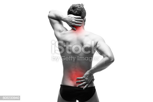 istock Man with backache isolated on white background 505233940