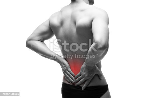 istock Man with backache isolated on white background 505234046