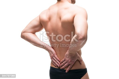 istock Man with backache isolated on white background 544797066