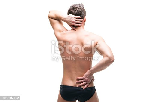 istock Man with backache isolated on white background 544797108