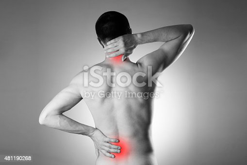 578088054istockphoto Man with backache. Pain in the man's body 481190268