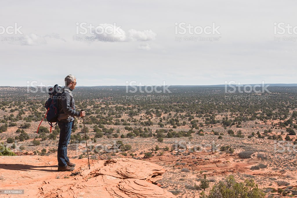 Man with backpack  and walking stick looks at deserted land stock photo