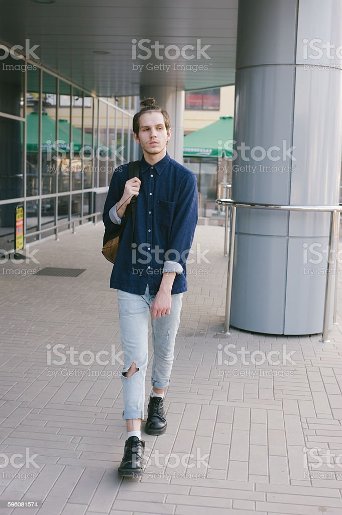 Man with backpack royalty-free stock photo