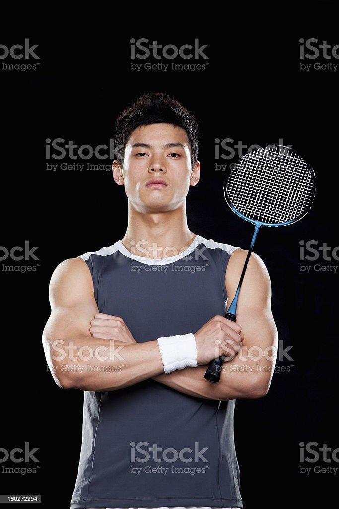 Homme avec une Raquette de badminton, portrait - Photo