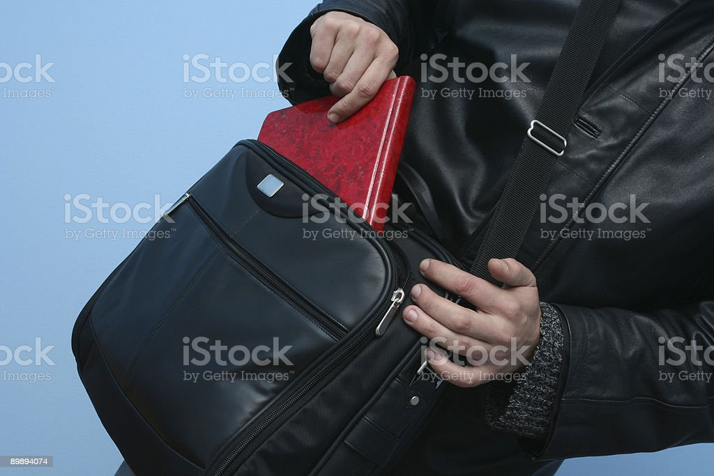 Man with baggage and adressbook royalty-free stock photo