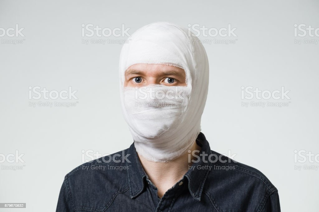 Man with bandage stock photo