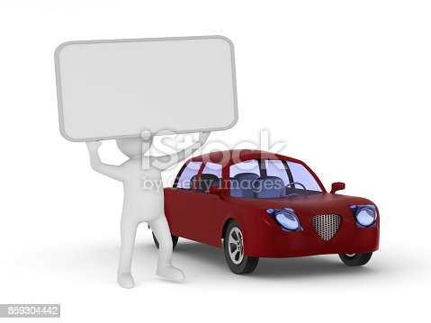1049198210 istock photo Man with banner and red car on white background. Isolated 3D illustration 859304442