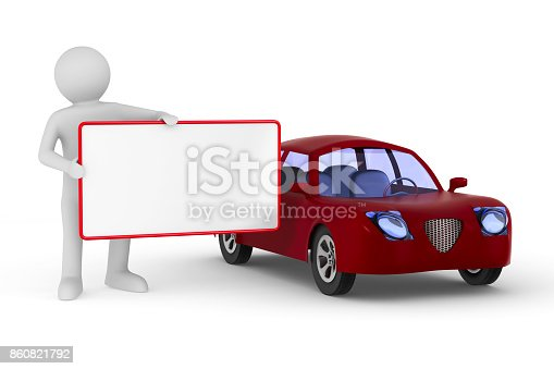 136591850 istock photo Man with banner and red car on white background. Isolated 3D illustration 860821792